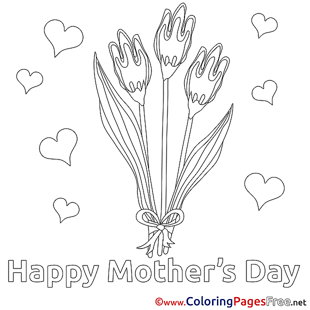 Tulips download Mother's Day Coloring Pages