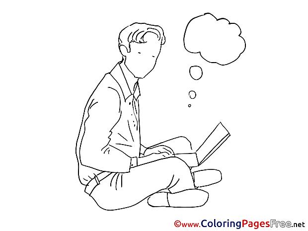 Laptop Man Colouring Sheet download free