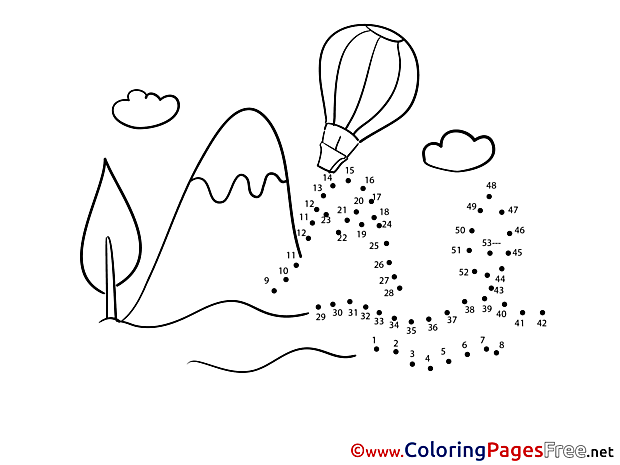 Balloon Painting by Number Coloring Pages free