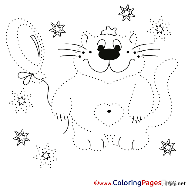 Cat Painting by Number Colouring Sheet free