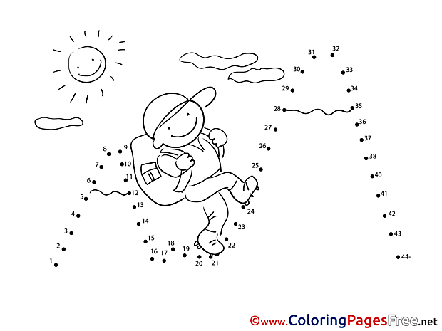 Climber Painting by Number Colouring Sheet free