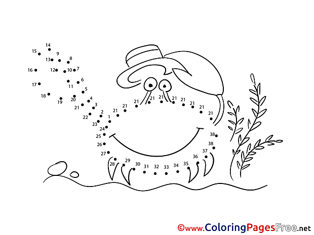 Crab Kids Painting by Number Coloring Page