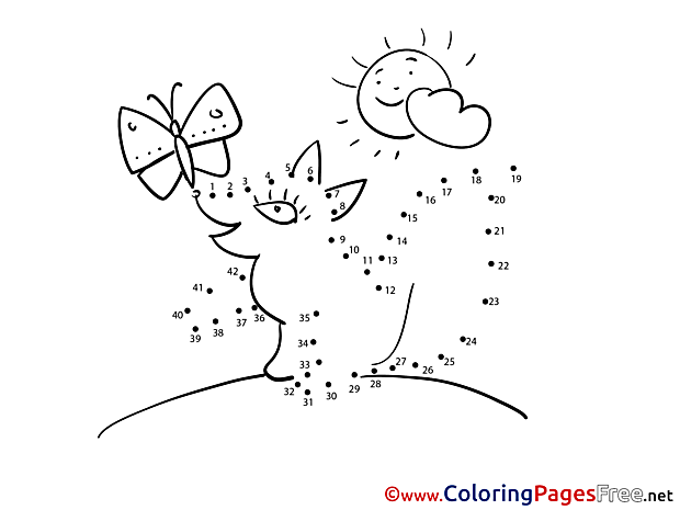 Fox Butterfly Kids Painting by Number Coloring Pages