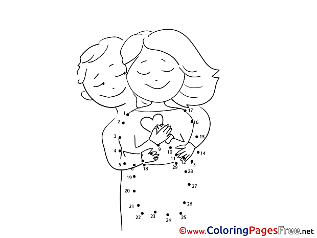 Love printable Painting by Number Coloring Sheets