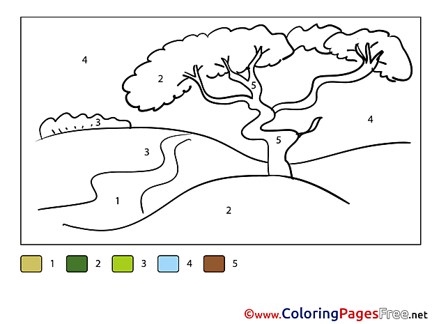 Nature free Colouring Page Painting by Number