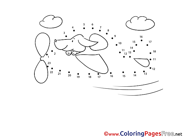 Plane Dog Coloring Pages Painting by Number