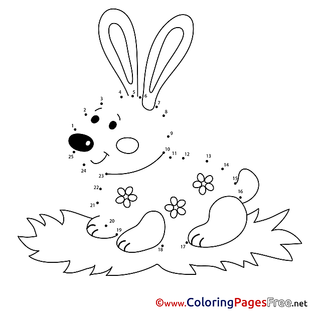 Rabbit printable Coloring Pages Painting by Number