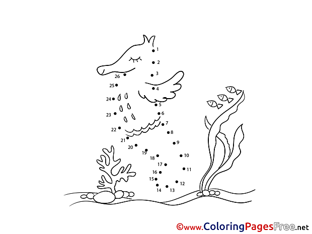 Sea Horse for Kids Painting by Number Colouring Page