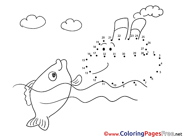 Steamship Colouring Page Painting by Number free