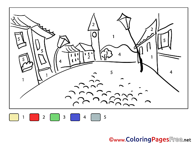 Street printable Painting by Number Coloring Sheets