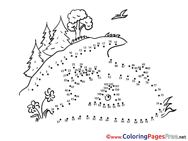Trees Meadow free Colouring Page Painting by Number
