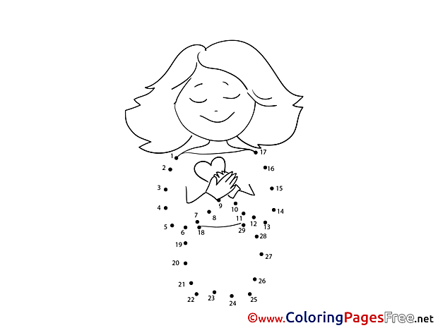 Woman Painting by Number free Coloring Pages