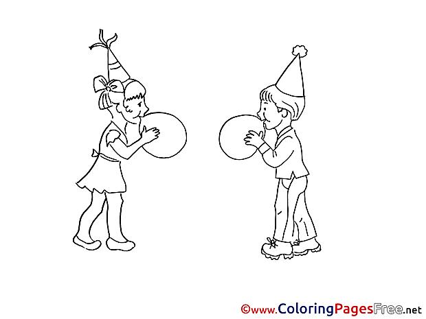 Balloons Kids download Colouring Sheet free