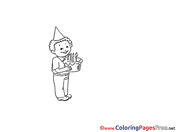 Cake Boy Party printable Coloring Pages for free
