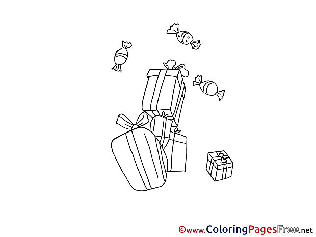 Candies Gifts Children download Colouring Page