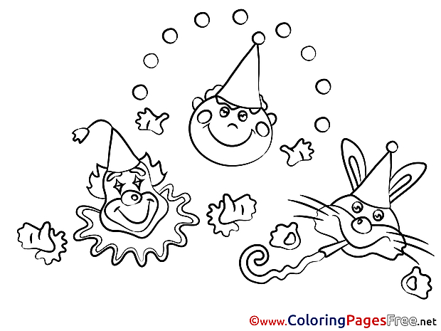 Carnival Clown Party Colouring Page printable free