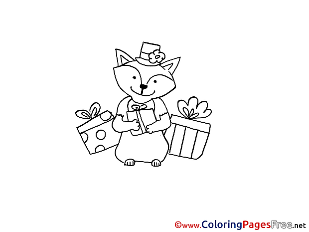 Cat Gifts Coloring Pages Party for free