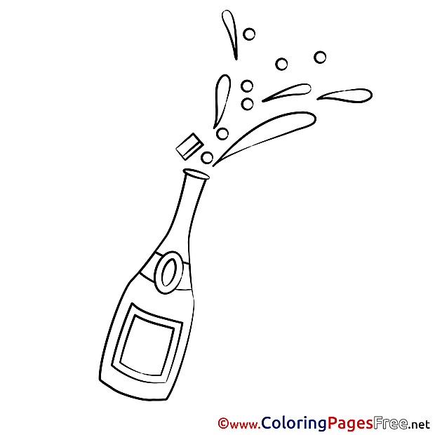 Champagne for Kids printable Colouring Page