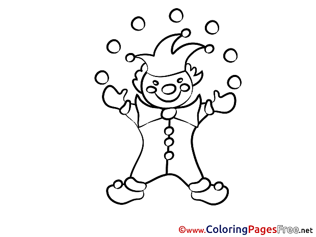 Clown Kids free Party Coloring Page