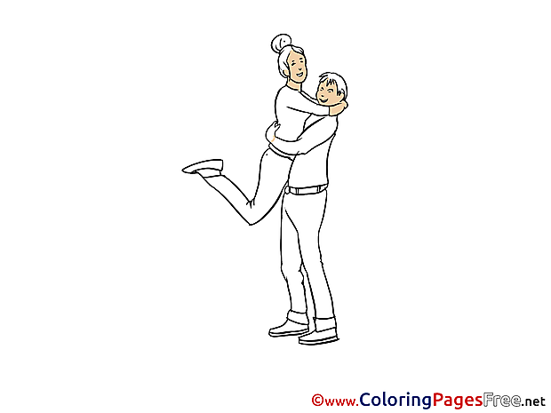 Couple Party Children download Colouring Page