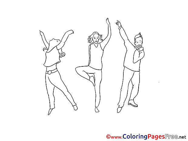 Dancing Teenagers Coloring Pages for free
