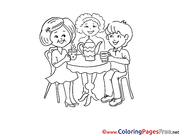 Friends Tea Party Kids free Coloring Page