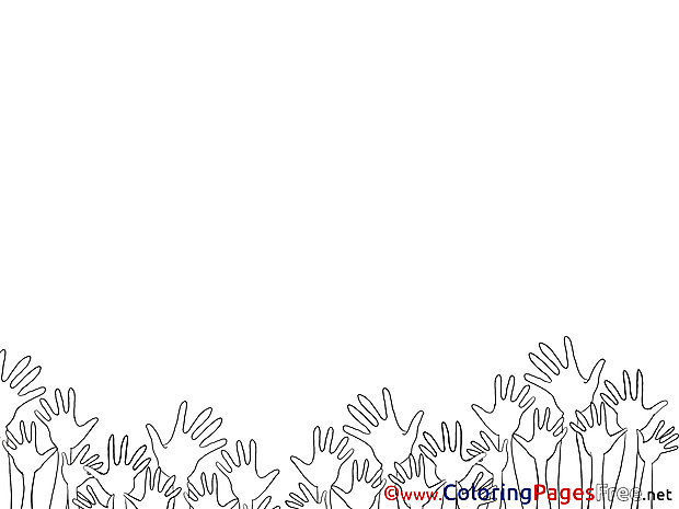 Hands Party Kids download Coloring Pages