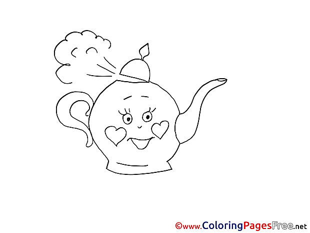 Kettle Colouring Page printable free Cup