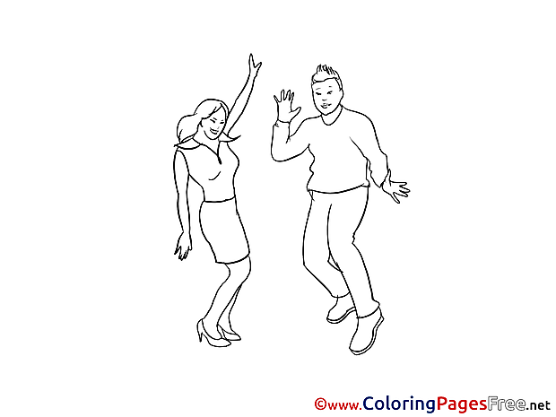 Party Dance Children Coloring Pages free