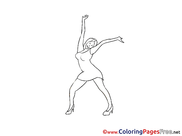Woman Dance Colouring Page printable free