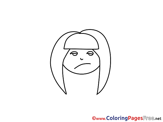 Angry Girl Children Coloring Pages free