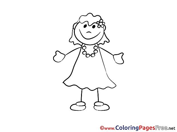 Beautiful Girl Colouring Sheet download free