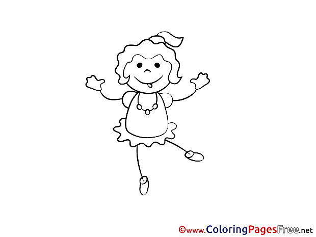 Disco Girl Children download Colouring Page
