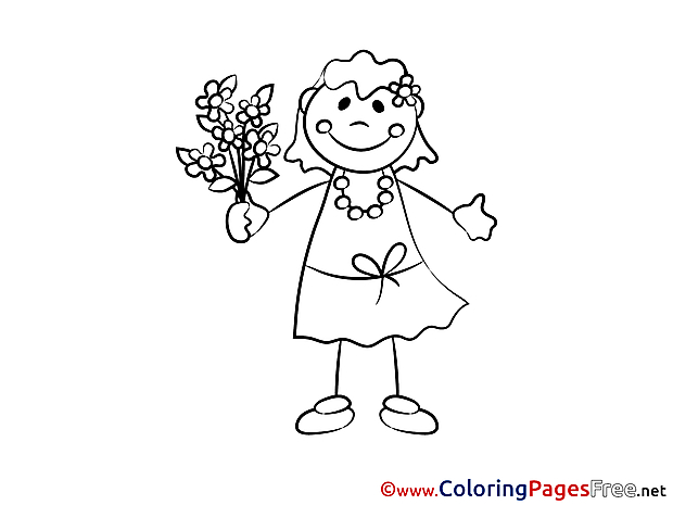 Flowers for free Coloring Pages Girl download