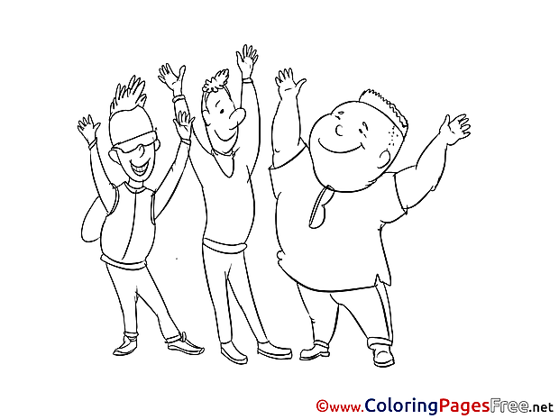 Friends Kids free Coloring Page