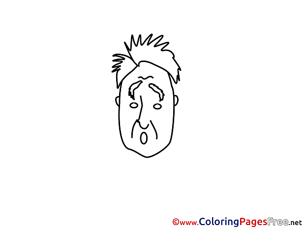Iluustration surpised Man Kids download Coloring Pages