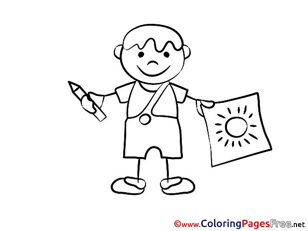 Image Children download Colouring Page Boy paints