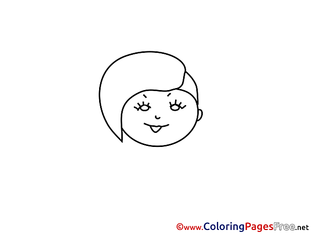 Image Girl Colouring Sheet download free
