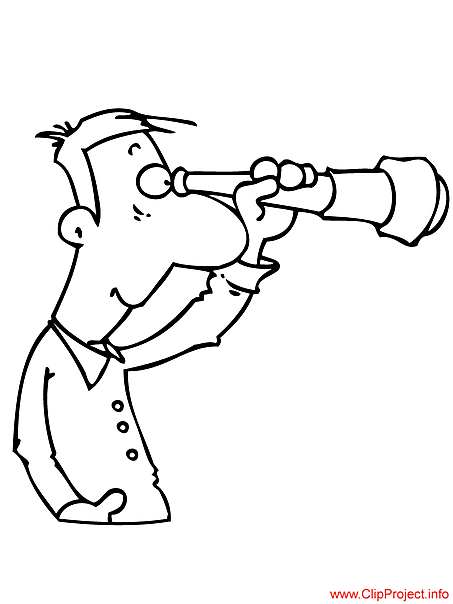 Man with spyglass image for colouring