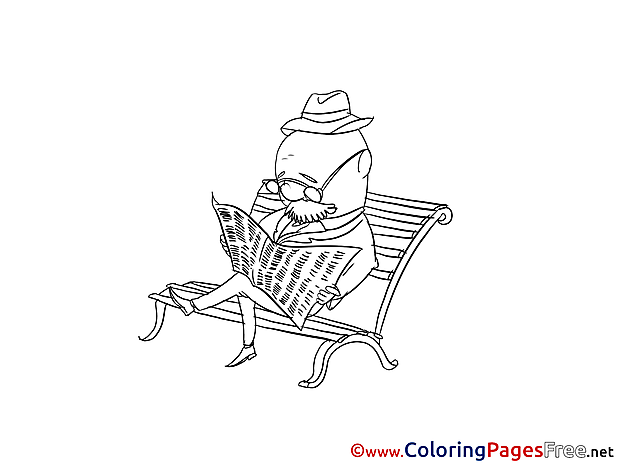 Newspaper Old Man for free Coloring Pages download