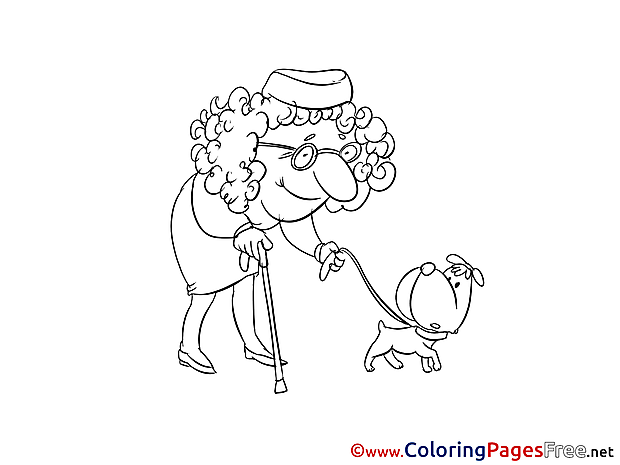 Old Woman Kids download Coloring Pages