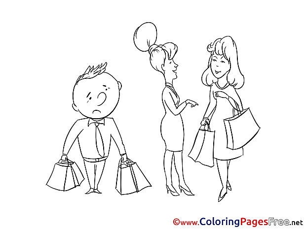 Shopping Kids free Coloring Page
