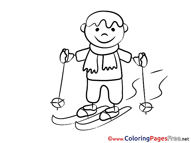 Ski Boy Winter for Children free Coloring Pages