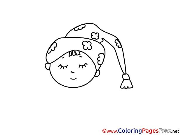 Sleeping Colouring Page printable free