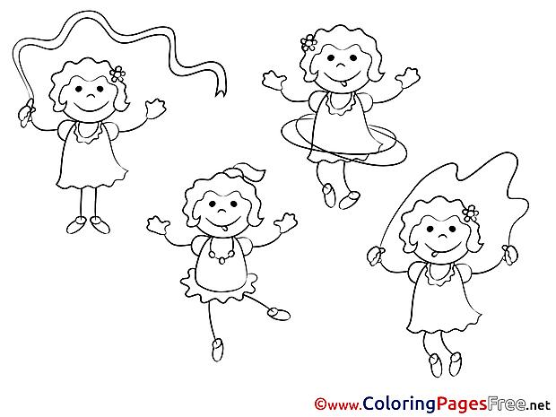 Sport Girls Colouring Sheet download free
