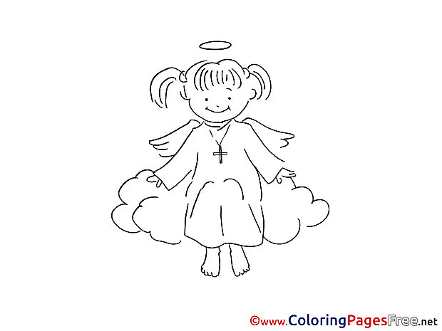Angel printable Christening Coloring Sheets