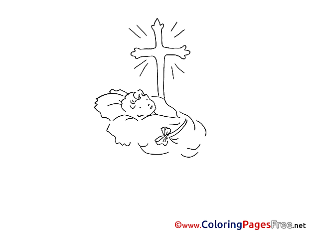 Baby free Colouring Page Christening