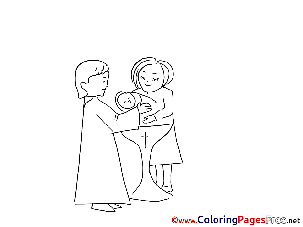 Children Christening Priest Colouring Page