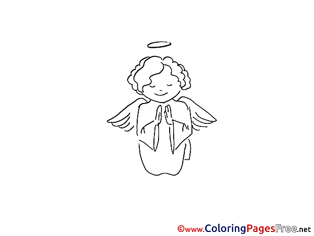 Christening Coloring Pages download Angel