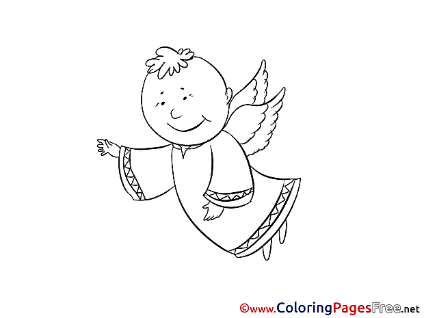 Coloring Pages Christening Angel